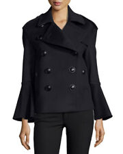 NEW Burberry Townhill Double-Breasted Flare-Sleeve Pea Coat in Black - Size US 6
