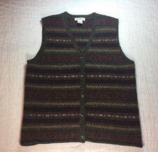 EDDIE BAUER Vest SZ L 100% Wool Button Up Top Sleeveless