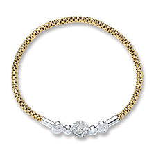Yellow Gold Plated Crystal Ball Mesh Bracelet Solid Sterling Silver
