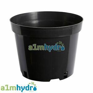 Black Plastic 10 Litre Round Hobby Pot For Garden Plant Growing Hydroponics X5