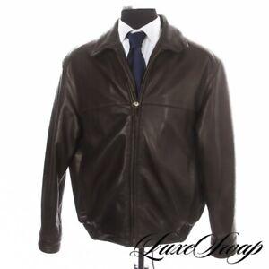 HEAVYWEIGHT Andrew Marc New York Espresso Brown Leather Full Zip Flight Jacket L