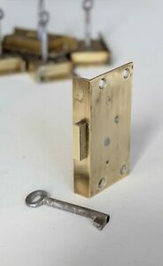 "LHS Brass SECURE LEVER Cut Cupboard Cabinet Door LOCK 2 7/8"" x 1 9/16"" CCL27a"