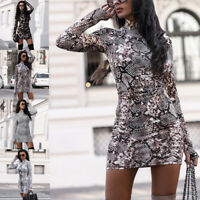 Women Leopard Print Sexy Long Sleeve Gloves Casual Bodycon Mini Dress Party Club
