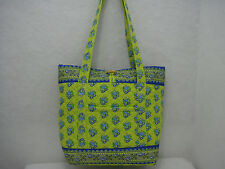 Quilted Camel Print Dual Strap Tote Green Blue