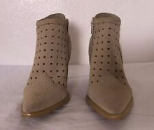 Newport News Nude Tan Leather Ankle Suede High Heels Western Zip Womens Boots 6