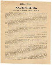 1st Indian Scout Jamboree at Worli Bombay 1927 programme India