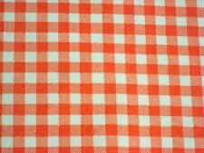 ORANGE GINGHAM CHECK RETRO WESTERN KITCHEN DINE OILCLOTH VINYL TABLECLOTH 48x48
