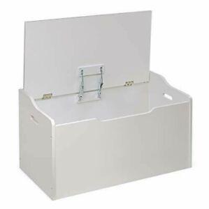White Wooden Toy Storage Box Bench