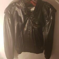 Members Only Leather Jacket Mens Size Large 42 Black Vintage