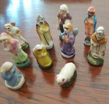 Fève Galette Rois Santon Crèche de Noël ancien lot de 10 porcelaine rare Collect
