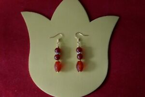 BEAUTIFUL EARRINGS WITH FACETED & COBASHION CARNELIA  7.9 GR. 4 CM LONG + HOOKS