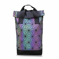 Luminous Geometric Backpack Holographic Reflective Student School Laptop Bag New