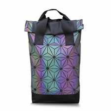 Luminous Geometric Backpack Holographic Reflective Student School Laptop Bag New
