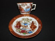 Antique Victorian Brown Pagoda CHINOISERIES Tasse & Soucoupe Diamant Losange Mark