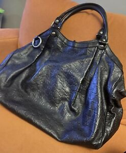 Authentic Gucci  Leather Black Guccissima Hobo Hand Bag