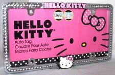 Hello Kitty Pink Bow Face and Diamond Stud Chrome License Frame 42506 New