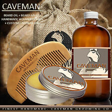 Hand Crafted Caveman® Beard Oil Conditioner + Beard Balm 18 Scents to Choose