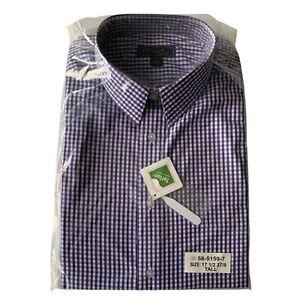 KS Signature Tall Size 17.5 (37/38) Plaid Teflon Protector Long Sleeve Shirt