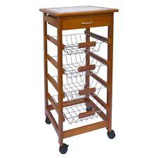 3 4 Tier Kitchen Trolley Brown Cart Basket Storage Drawer Wood Top Portable