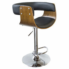 AmeriHome BSBWLB4 Bent Wood Jet Faux Leather Bar Stool