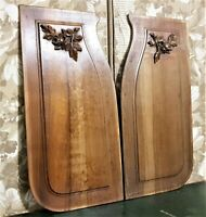 Pair flower leaf garland wood carving panel Antique french architectural salvage