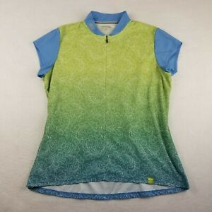Sugoi Green Cycling Jersey Size XL Green Blue Floral Womens Polyester