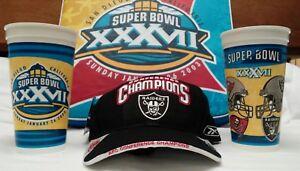 NFL RAIDERS 2002 AFC CHAMPIONSHIP CAP HAT NEW! & SUPER BOWL 37 SEAT PAD/CUPS OOP