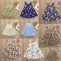 Toddler Baby Kids Girls Floral Print Backless Casual Princess Dress Clothes