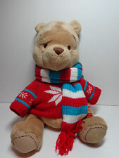 Disney Store Exclusive Winnie The Pooh Plush Stuffed Sweater Scarf Christmas