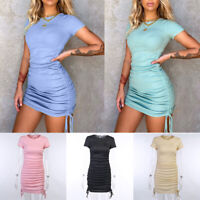Girl Short Sleeve Sexy Bodycon Mini Dress Ruched Side Drawstring Ribbed Clubwear