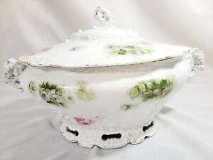 Porcelain Soup Tureen with Lid Pink Flowers & Green Leaves Gold Trim Elysees