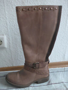 Sheego Leather XL Wide Calf Boots Size 41 New Taupe Tone (944)