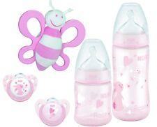 NUK 10260385 Baby Rose Starter Set, NUK First Choice Plus Babyflasche, Schnuller