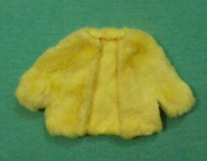 Vintage Barbie Doll Clothes - MOD Era Barbie HOMEMADE Yellow Faux Fur Jacket