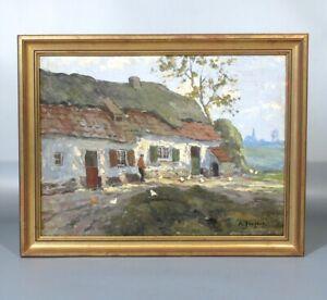 Antique Belgian Oil Painting, Landscape Belgium Farmyard Farmer Chicken, Signed