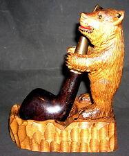Antiker Pfeifenständer Bär Holz geschnitzt mit Pfeife Stanwell
