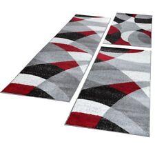 Bettumrandung Läufer Teppich Geometrisch Muster Meliert Rot Grau Läuferset 3Tlg
