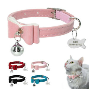 Soft Velvet Leather Personalised Cat Collar with Bell Engraved Puppy ID Tags XS