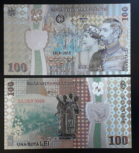 ROMANIA 100 LEI 2018 SILVER PLATED POLYMER BANKNOTE-100 YEARS THE GREAT UNION