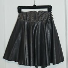 Leather spike studded high wasted mini flare a-line black skirt S