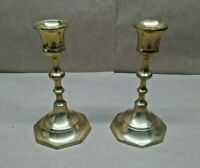 "Pair Of Vintage Elegant India Made Brass Candlestick Holders 5.5"" Tall (14cm)"