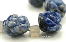 12X8MM SODALITE GEMSTONE BLUE CARVED ROSE FLOWER 12X8MM LOOSE BEADS 5 BEADS