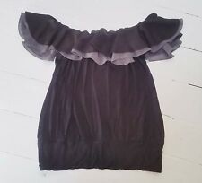 MISO black grey jersey Ruffle Frill layered Cold off shoulder Top blouse size 8