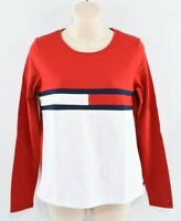 TOMMY HILFIGER Women's Long Sleeve Top, Red/White, size S