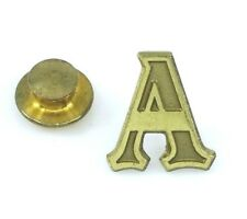 Vintage Letter A Initial Tie Tack Pin Brass Tone
