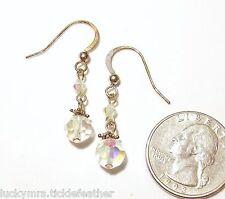 Iridescent Crystal Dangle Hook Pierced Earrings, 7 mm
