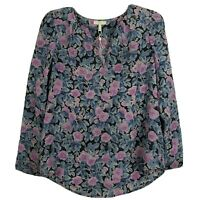 Joie Zahira 100% Silk Popover Blouse Long Sleeve V Neck Floral Top Womens XS