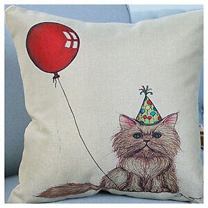 UK Retro Vintage Balloon & Lovely Cat Linen Throw Pillow Case Cushion Cover