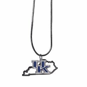 Kentucky Wildcats State Shape Charm w/ Team Logo Chain Necklace NCAA Licensed