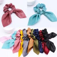 Women Girls Elastic Floral Hair Rope Bowknot Scrunchie Ribbon Hair Band Decor